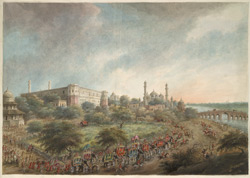 Lord Hastings' party entering the city of Lucknow on elephant back